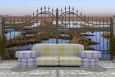 3d Modellierung Gebäude innen und außen mit Möbeln — Stockfoto
