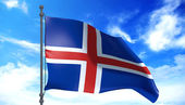 Iceland flag in the wind — Stock Photo