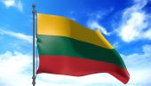 Lithuania flag in the wind — Stock Photo
