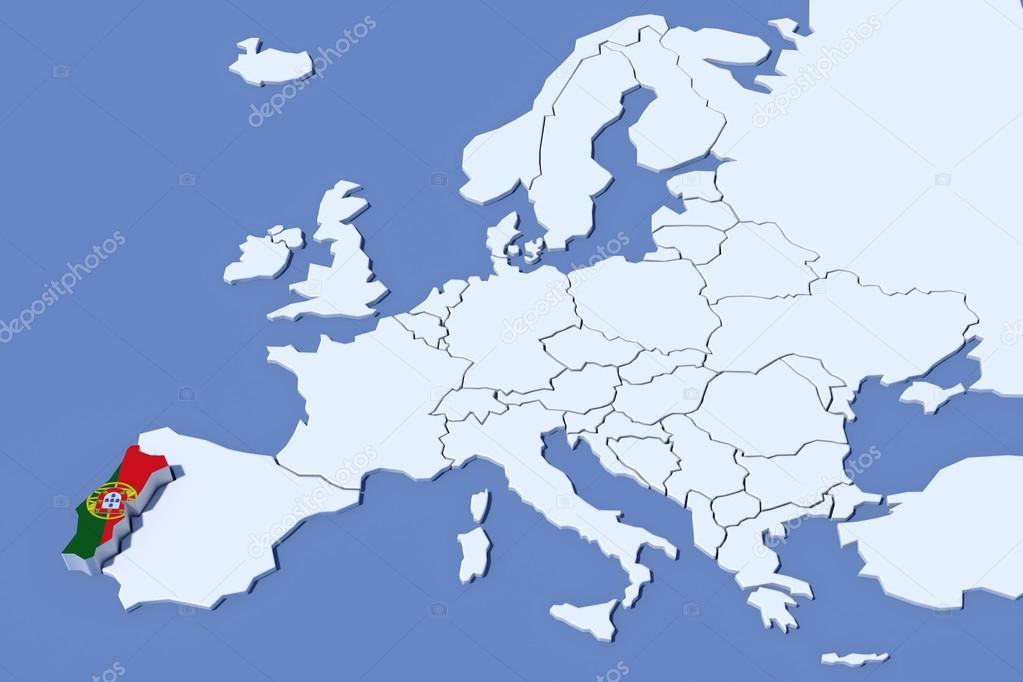 europe carte couleurs du drapeau portugal relief 3d. Black Bedroom Furniture Sets. Home Design Ideas