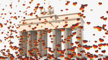 Brandenburg Gate with hearts colors Germany — Stock Video