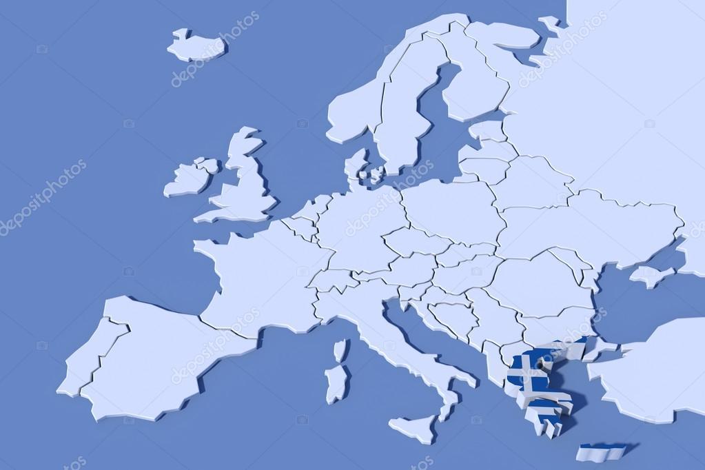 欧洲地图 3d 救济希腊国旗颜色
