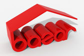 Logo 3D shape with bazar building — Stock Photo