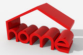 Logo 3D shape with home building — Stock Photo