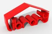 Logo 3D-vorm met bibliotheekgebouw — Stockfoto