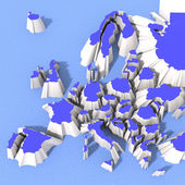 Map 3D that is dividing Europe — Stock Photo