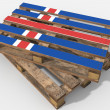 Pallet 3D with flag Iceland — Stock Photo #78216644