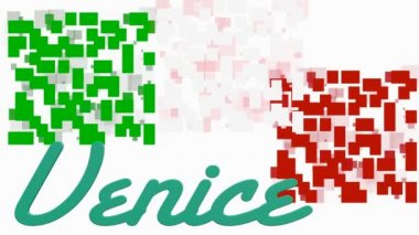 Animacja flaga Włoch z geometrycznych kształtów i tekstu Venice — Wideo stockowe