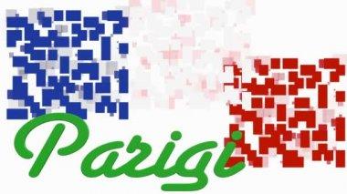Francia bandera de animación con figuras geométricas y texto Parigi — Vídeo de Stock