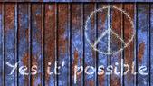 Да это возможно написано на табличке с символом мира — Стоковое фото