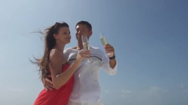 Man And Fiancee drinking Champagne — Stock Video
