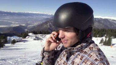 Skier Making Telephone Call — Stock Video