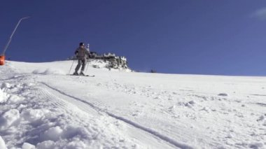 Skier Carving Down The Ski Track — Stock Video