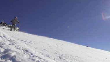 Sunny Slow Motion Of Professional Skier Carving Down The Slope In The Alps — Stock Video