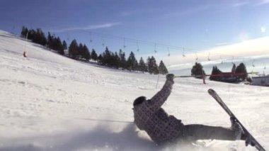 Skier Falling Hard — Stock Video