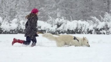 Woman Running With Her dog — Vídeo stock