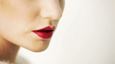 Sensual Red female Lips — Stock Video
