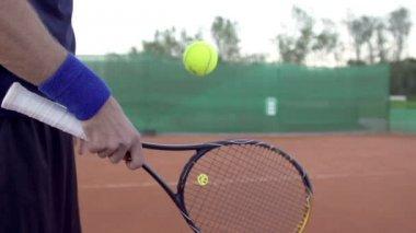 Hand Hitting The Tennis Bal — Stockvideo
