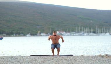 Sportsman Doing Jump Squats — Stock Video