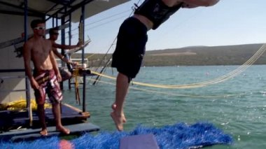 Wakeboarder Training For Double Front Flip — Stock Video