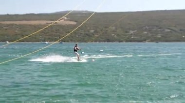 Wakeboarder Carving Really Fast — Stock Video