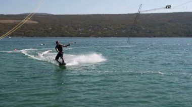 Wakeboarder Slicing The Water — Stock Video