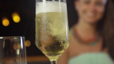 Chilled Champagne Poured In Glass — Stock Video
