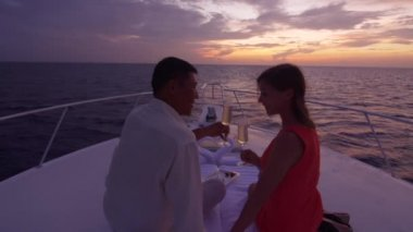 Couple Toasts With Champagne On Boat — Stock Video