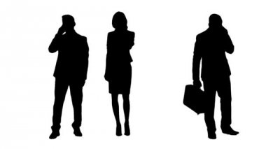 Multiple Silhouettes Of Busy Business People — Stock Video