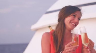 Woman Enjoys Champagne With Her Fiance — Video Stock