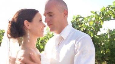 Wedding couple kissing — Stock Video