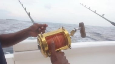 Fishing Road And Rolling Reel — Stock Video