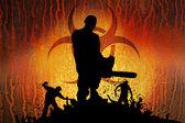 Slayer with chainsaw horizontal — Foto de Stock