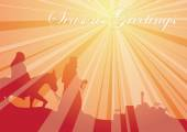 Rays belen mary and joseph greeting — Vector de stock