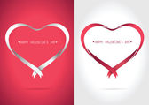 Heart ribbon Red and White — Stock Vector