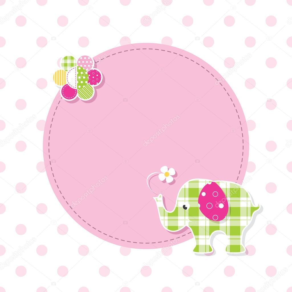 tarjeta de felicitaci n rosa y verde beb elefante archivo im genes vectoriales jelena z. Black Bedroom Furniture Sets. Home Design Ideas