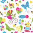 Cute baby stroller hearts flowers toys and animals pattern — Stock Vector #62865931