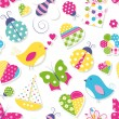 Cute hearts flowers toys and animals pattern — Stock vektor #62867499
