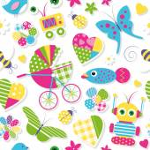 Cute baby stroller hearts flowers toys and animals pattern — Stock Vector