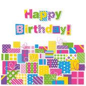 Happy birthday presents greeting card — Stock Vector
