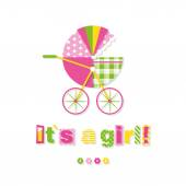 Baby girl stroller greeting card — Stock Vector