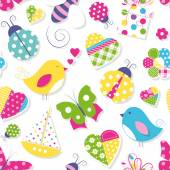 Cute hearts flowers toys and animals pattern — Stock Vector