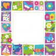 Cute hearts flowers and butterflies border — Stock Vector #62878289