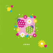 Cute ladybugs greeting card — Stock Vector