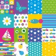 Happy patchwork pattern collection — Stock Vector #62883187