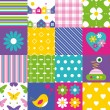 Happy patchwork pattern collection — Stock Vector #62883381