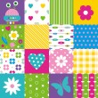 Happy patchwork pattern collection — Stock Vector #62883479