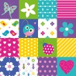 Happy patchwork pattern collection — Stock Vector #62883499
