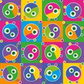 Colorful robots collection pattern — Stock Vector