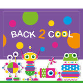 Cute robot schoolchildren greeting card — Stock Vector